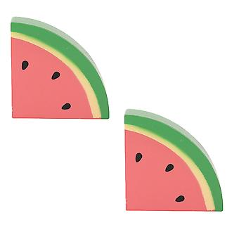 Bigjigs Toys Wooden Play Food Watermelon (Pack of 2) Pretend Role Play Kitchen