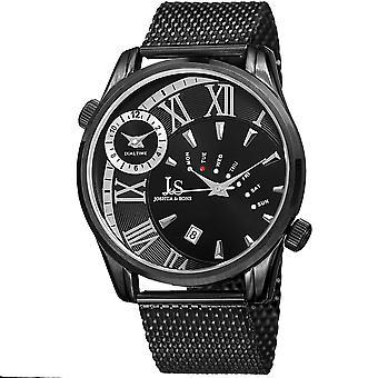 Joshua & Sons Men's Dual Time Zone Quartz Watch On Stainless Steel Mesh Bracelet Watch  JX112BK