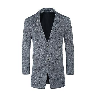 Allthemen Mens Casual Loose Thick Mid-Long Style Knit Woolen Trench Coat Gris