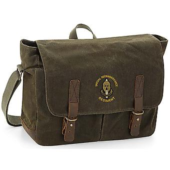 SRR Special Reconnaissance Regiment Name - Licensed British Army Embroidered Waxed Canvas Messenger Bag