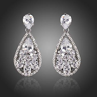 18K White Gold Plated Dew Drop Cubic Zirconia Earrings, 3.8cm