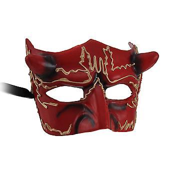 Hadès demi masque de diable rouge Cornu
