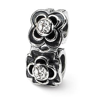 925 Sterling Silver Antique finish Reflections SimStars Cubic Zirconia Connector Bead Charm