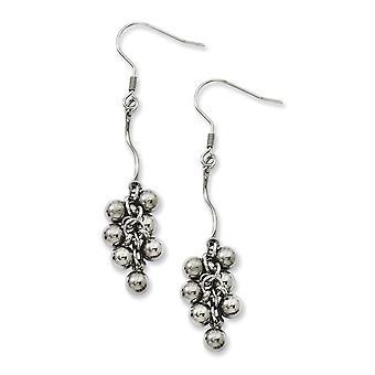 Stainless Steel Shepherd hook Polished Beads Dangle Earrings