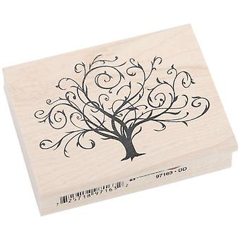 Inkadinkado Wood Mounted Rubber Stamp Dd Flourished Fall Tree Stampdd 97163