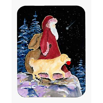 Santa Claus with  Golden Retriever Mouse Pad / Hot Pad / Trivet