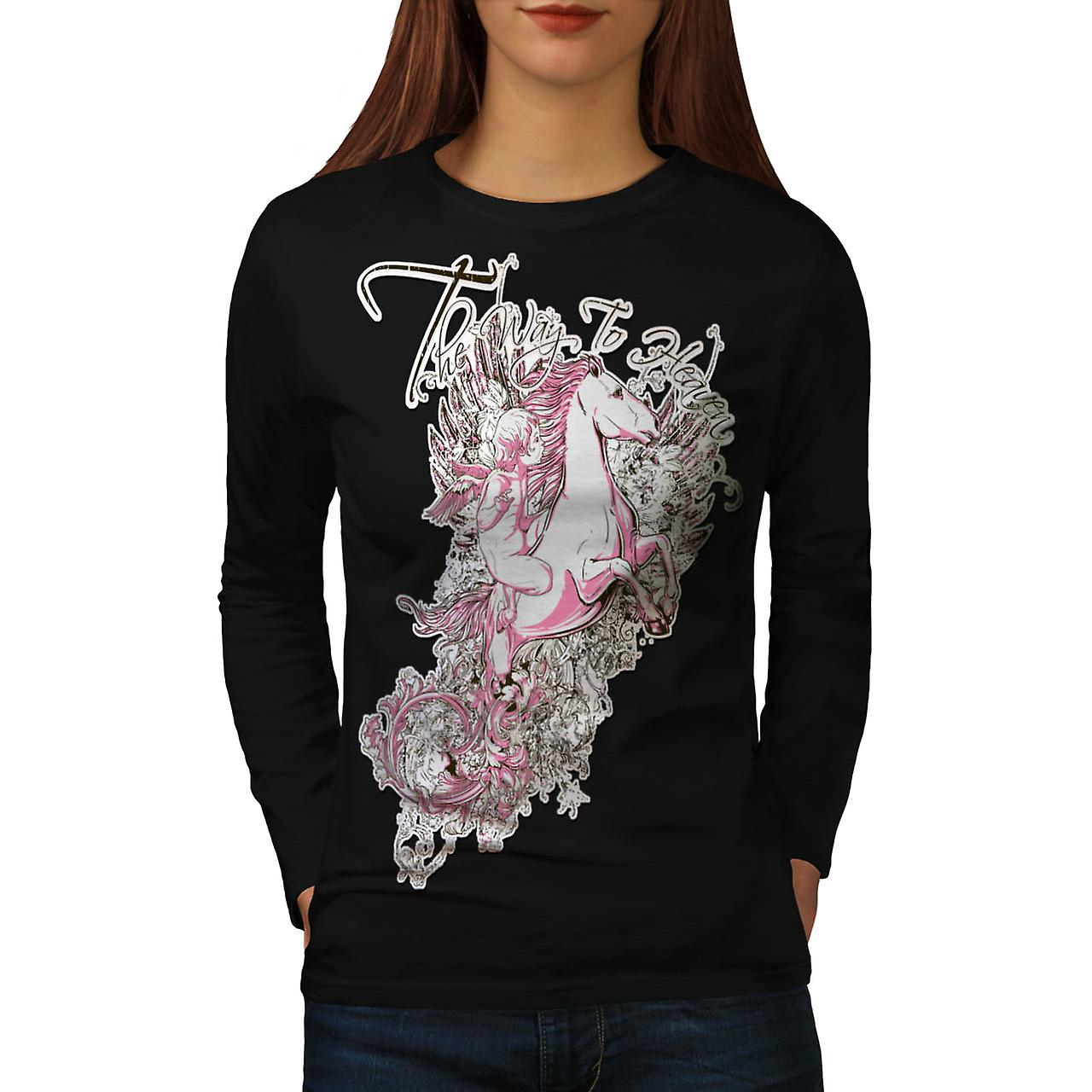 Way To Heaven Myth Unicorn Soul Women Black Long Sleeve T-shirt | Wellcoda