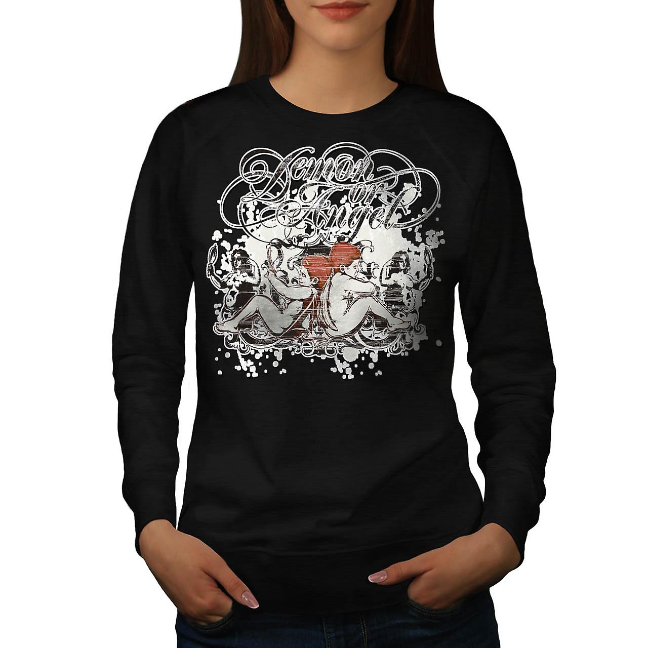 Demon Or Angel Wing Heaven Hell Women Black Sweatshirt | Wellcoda