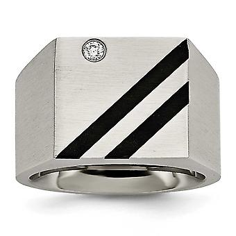 Stainless Steel Brushed Black Ip-plated Cubic Zirconia Ring - Ring Size: 9 to 12