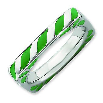 3.25mm Sterling Silver Rhodium-plated Stackable Expressions Polished Green Enameled Square Ring - Ring Size: 5 to 10