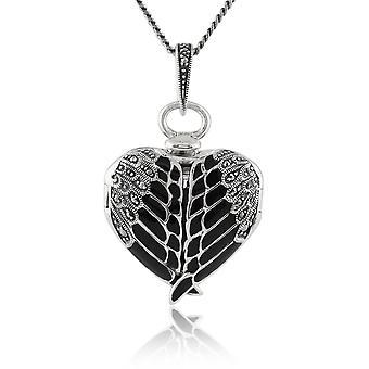 Sterling prata marcassita & esmalte preto coração alado Locket colar 45cm