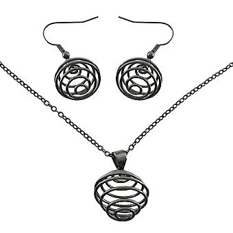 Gunmetal Spiral Wire Orb Necklace / Earrings Set