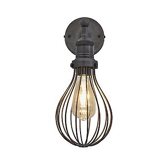 Orlando Vintage Balloon Cage Retro Sconce Wall Light - Dark Pewter - 5.5