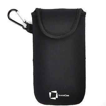InventCase Neoprene Impact Resistant Protective Pouch Case Cover Bag with Velcro Closure and Aluminium Carabiner for Motorola Moto M - Black