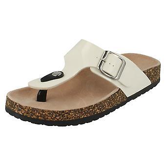 Womens plek op verstelbare gesp Toepost sandalen