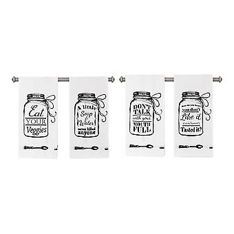 Canning Jar with Words of Wisdom White Fabric Tea Towels Set of 4
