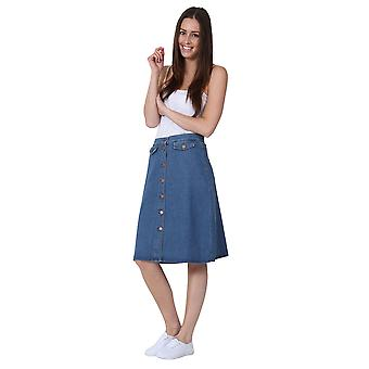 Mittellanger Rock Button vorne Denim MIDI-Jeansrock