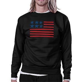 Unik USA flagga tröja Unisex svart rund hals Pullover Fleece