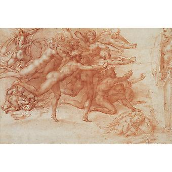 Michelangelo - Archers shooting at a herm Poster Print Giclee