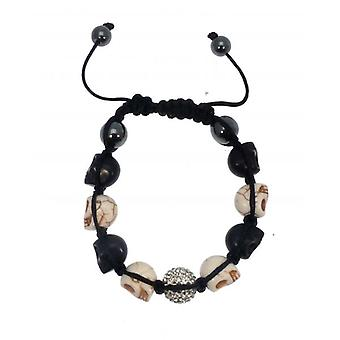 W.A.T Black And Cream Coloured Skull And Glitterball Bracelet