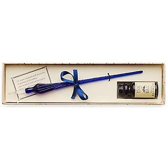 Coles Calligraphy New Venetian Glass Dip Pen and Ink Set - Blue