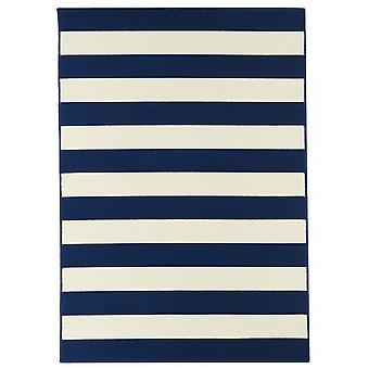Outdoor carpet for Terrace / balcony blue white coastal living stripes Navy 160 / 230 cm carpet indoor / outdoor - for indoors and outdoors