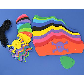 30 Mixed Colour Card Pirate Hats & Patches Kit for Kids Crafts