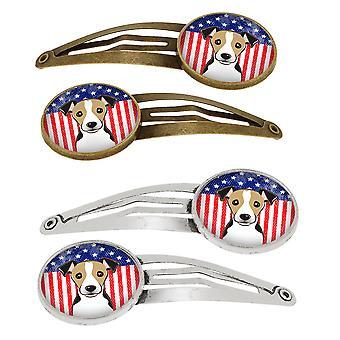 Amerikaanse vlag en Jack Russell Terriër Set van 4 haarspeldjes Hair Clips