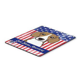 God Bless American Flag with Beagle Mouse Pad, Hot Pad or Trivet
