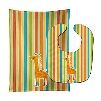 Carolines schatten BB6747STBU Giraffe in sokken Baby Slabbetje & Burp doek