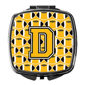 Letter D Football Black, Old Gold and White Compact Mirror