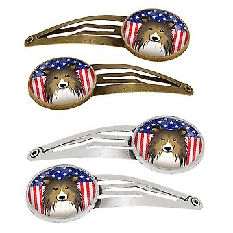 American Flag and Sheltie Set of 4 Barrettes Hair Clips