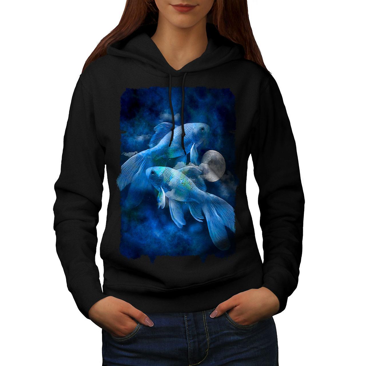 Poisson lune de Nature animale femmes noirHoodie