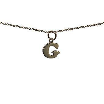 9ct Złota 11x12mm zwykły początkowe G wisiorek z kablem łańcucha 16 cali nadaje się tylko dla dzieci