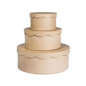 Paper Mache Wedding or Birthday Cake Box Set - 3 Individual Boxes