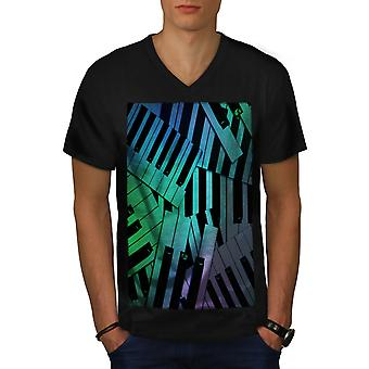 Klavier Gesang Keyboard Männer BlackV-Neck T-shirt | Wellcoda