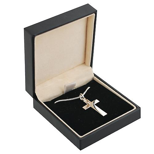 Silver 24x14mm flat latin Crucifix Cross with a curb Chain 22 inches