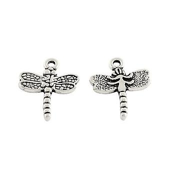 Packet 15 x Antique Silver Tibetan 20mm Dragonfly Charm/Pendant ZX11530