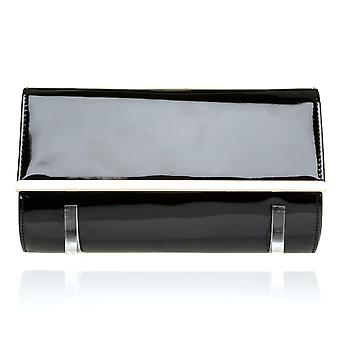 ATHENS Black Patent PU Leather Clutch Bag with Metallic Gold Trim