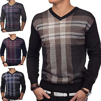 Men's sweater knitted sweater V neck sweater (various colors)
