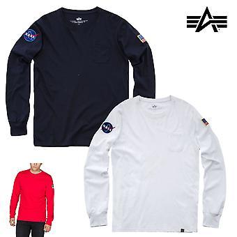Alpha industries men's long sleeve shirt NASA