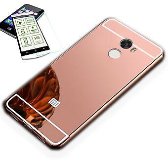 Mirror / Mirror aluminium of bumper 2 piece pink + 0.3 mm H9 tempered glass for Xiaomi Redmi 5 plus