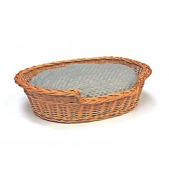 Medium Willow Dog Cat Pet Wicker Basket Soft Cushion