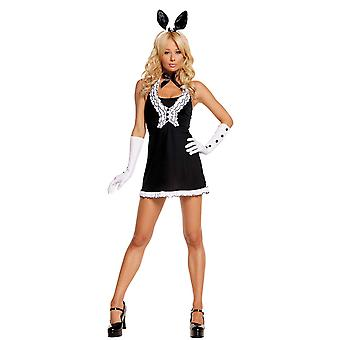 Womens Black Tie Sexy Adult Bunny Halloween Animal Roleplay Costume