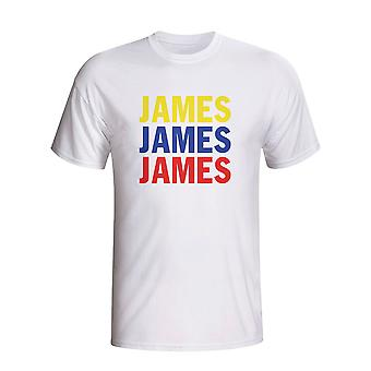 James Rodriguez Colombia spelare flagga T-shirt (vit) - barn