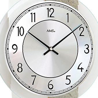 AMS 9498 wall clock quartz analog modern curved stone optics with glass