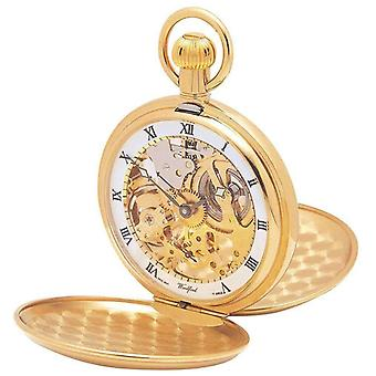 Woodford Gold Plated Engine Turned Double Hunter Skeleton Swiss Pocket Watch - Gold