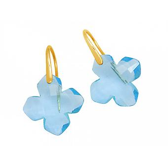 Women's earrings - earrings - 925 silver plated - blue topaz - blue - 2.5 cm