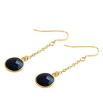 Blue - 2 cm - Sapphire - gold-plated ladies - earrings - earrings - 925 Silver-