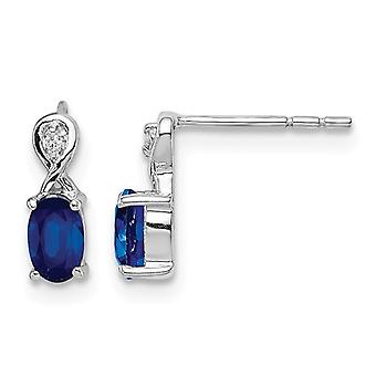 Sterling Silver Natural Blue Sapphire Post Earrings 2/5 Carat (ctw)